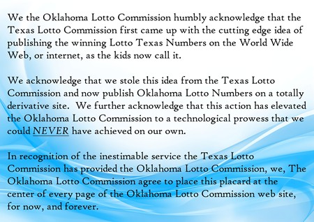 The Oklahoma Lotto Commission Pays Homage to the Texas Lotto Commission