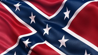 Confederate Battle Flag or St Andrews Cross waving in the wind.