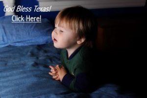 Little Boy Praying God Bless Texas